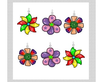 Pinwheels... Bling Charm Ornaments...Set of 12.