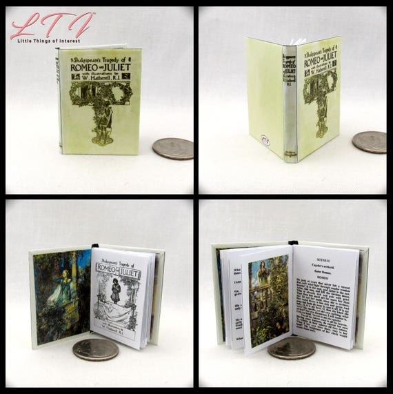 ROMEO AND JULIET 1:6 Scale Book Readable Illustrated Miniature Book by William Shakespeare Tragedy Romance Love