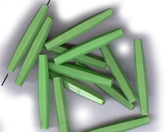 20 vintage SKINNY GREEN PLASTIC beads 30mm grass green beads lightweight statement beads make a festoon necklace or shabby chic creation