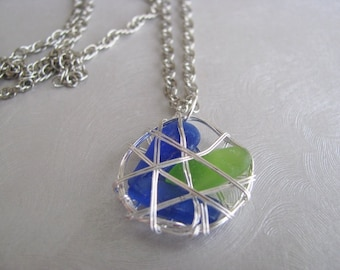 Sea Glass Pendant - Cobalt Blue and Kelly Green - Caged Sea Glass - Beach Glass Jewelry