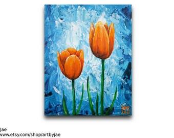 Orange Tulips Painting Flower Wall Art Home Decor 8x10 Modern Painting