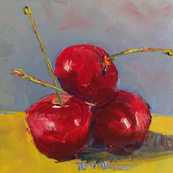 Cherry Fruit Painting, Small Oil Painting, Tiny Still Life, Fruit, Red Cherries, Bright Red