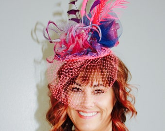 Hot Pink Fascinator, Kentucky Derby Hat , Racing Fashion, Feathers
