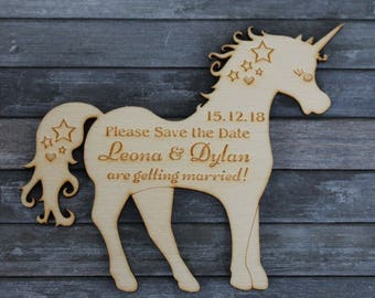 PERSONALISED Wooden UNICORN Magical/Fantasy Wedding Save the Date Magnets