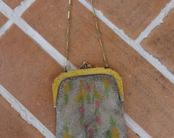 Vintage 1920's mesh purse handbag EVANS enamel frame womens Art Deco flapper antique