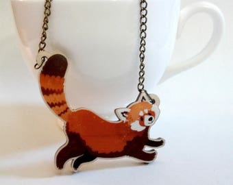 Red Panda wood charm necklace