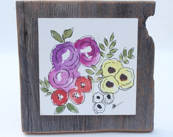 flowers | barnboard | watercolour | wall art | wall decor | wall flower | barnboard art | rustic decor