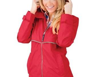 Red Monogrammed rain jacket, Water proof Rain Coat with monogram