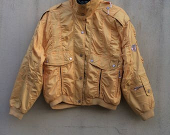 Vintage Ellesse ski padded bomber jacket hoodie ..yellow colour..zip..nice condition size large