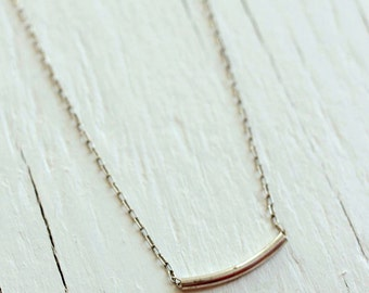 Sterling Silver Bar Necklace - Tube Strand Necklace for Valentines Day