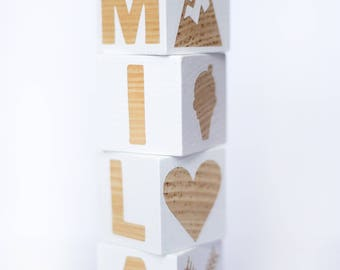 Personalized Baby Blocks With Images, wood blocks, baby prop, room decor, made to order