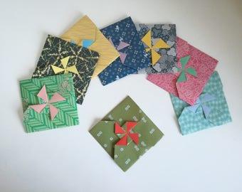 Set of 8 handmade origami square envelopes / tato