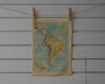 1952 Vintage South America Map