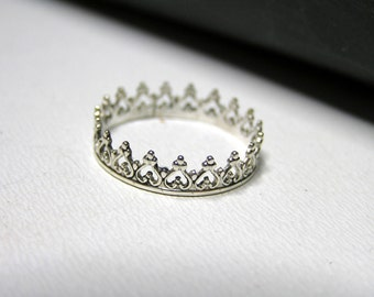 Sterling Silver Crown Ring. Stacking sterling silver ring.
