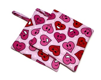 Handmade Quilted Pot Holders Set of 2 Pink Red Hearts Valentine's Day  Potholders