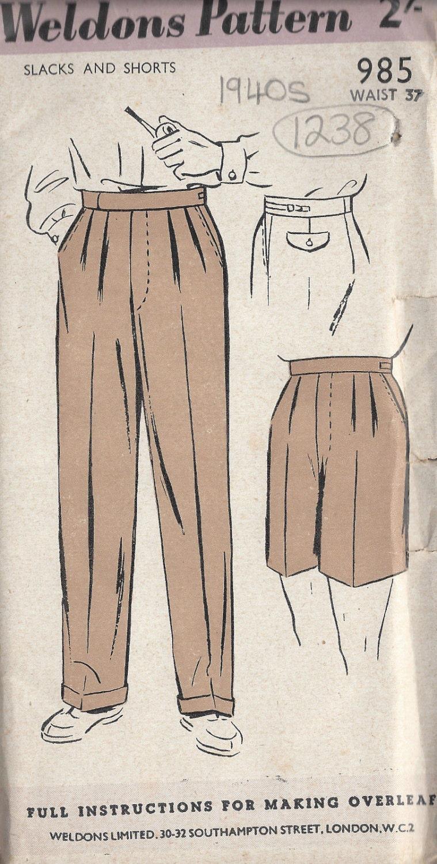 1940er Jahre Vintage Schnittmuster W37 Herren Hose Hosen
