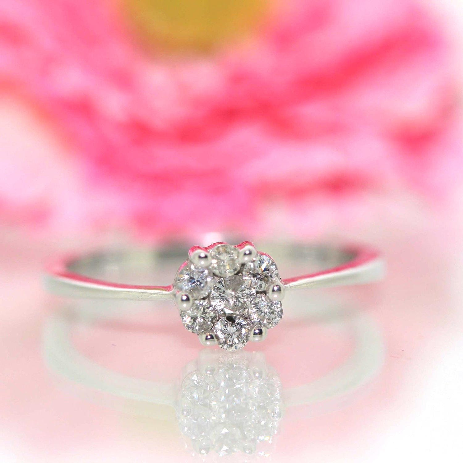 14k White gold Natural round Diamond Teenager Stackable