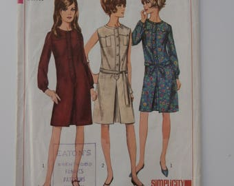 Vintage Size 16 SIMPLICITY 6627 Dress Sewing Pattern, Bust Size 36, 1960s Dress Pattern, Size 16 Dress Pattern, Vintage Size 16 Dress