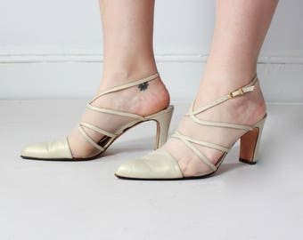 vintage 90s ivory mesh heels | slingback pointy heels, size US 10 | EUR 41