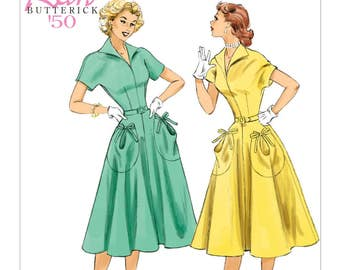OOP Retro 1950s Dress Pattern, US Sizes  6 -14 or 14 -22, Butterick B6055 Sewing Pattern, Fitted Bodice with Flared Skirt and Large Pockets