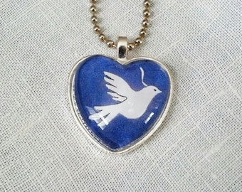 Dove of Peace Glass Heart Pendant. Lovingly handmade in Brooklyn by Wishing Well Studio.
