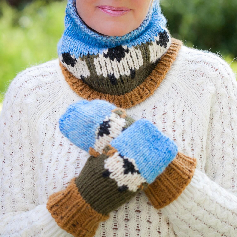 Loom Knit Cowl, Hat, Mittens PATTERN. Sheep Cowl, Hat, Mittens, Loom ...