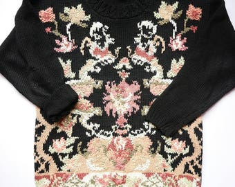 Vintage Chunky Sweater - Oversized Sweater - Black/Pink/Mint/Cream/Tan 80s, Floral, Grunge, Hipster Sweater, Women's Large