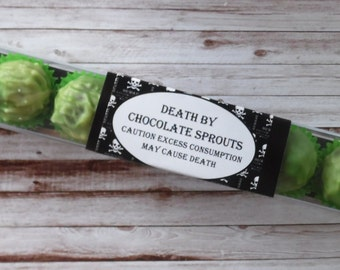 Death By Chocolate Sprouts - Novelty Gift - Stick Box of 8 Brussel Sprout Truffles - Personalised Gift