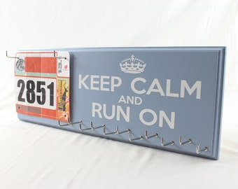 Keep Calm and Run On Race Bib and Running Medal Holder