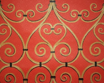 1970s Vintage Wallpaper Gold and Black Grillwork on Red by the Yard