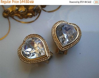 ON SALE Signed Vintage Headlight Heart Rhinestone Earrings * Old Hollywood Glam * Retro Rockabilly  * Statement Jewelry