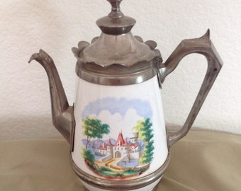 Antique Pewter and Enamel Graniteware TEAPOT COFFEE POT Castle Scene