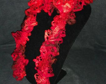Handmade knitted red scarf - bright and colorful