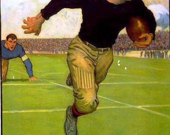 "Football - Vintage Sports Athletics Poster, 1883, vintage sports poster, antich football poster, 11x14"" canvas art print"