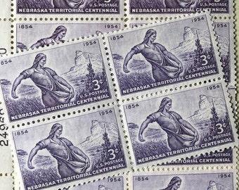 Vintage Nebraska Postage Stamps / 16 Unused / Purple US Postage Stamp / 3 cents 1961 Scott 1060