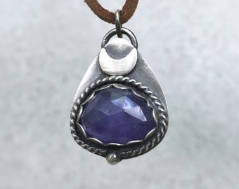 Tanzanite Sterling Silver Moon Necklace Handmade