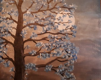Moonlit tree original painting