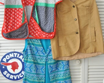 Vintage Womens Vest Destash Value Bundle of 3 Hippie Casual Dressy Variety Blue Red Beige 60s 70s 80s Theater Costume Large Collection