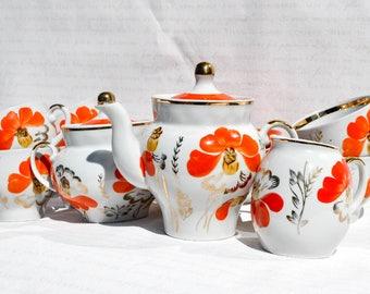 SALE! Beautiful Orange and White Porcelain Tea or Coffee Service. Tea set. Dessert Service, Tea Pot, Sugar Bowl, Cups and Saucers Plates