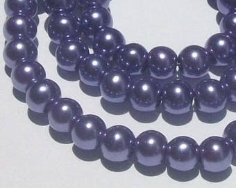 Sale - Glass pearl  beads,  round beads with pearl finish -- VIOLET purple  --  10mm