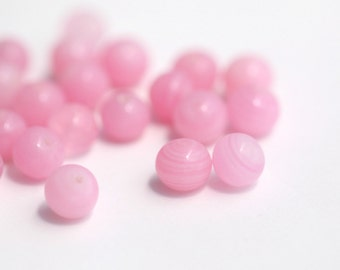 Vintage Japanese Glass Beads Japan Pink White Marbled Round Beads 8mm (16)