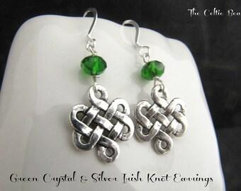 Irish Celtic Silver Knot & Green Crystal Earrings
