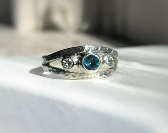 Blue topaz aquamarine silver ring - Ready to ship - Recycled silver - Size 8