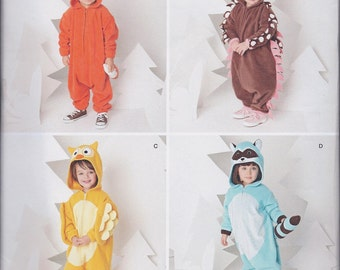Simplicity 1351 Toddlers Animal Costumes Fox Hedgehog Owl Raccoon size 1/2 1 2 3 4 UNCUT Sewing Pattern
