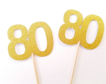 Set of 24Pcs - Double Sided Gold Glitter 80 Party Picks, Toppers, Food Decoration, Birthday, Cake Topper
