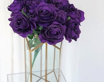 Dark Purple Rose Bush/Violet Rose Bush/Faux Flowers/Mutiple sizes/Aisle decor/ Centerpiece/Home Decor/Yellow Flowers/Roses