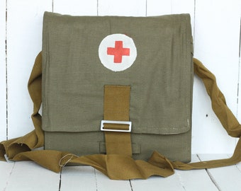 Vintage medical bag Army First Aid Pack Ussr army bag Vintage red cross Vintage Army Soviet military Ussr military bag Soviet medic bag