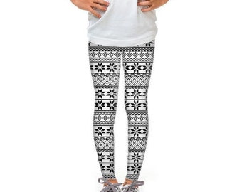 Youth Black and White Snowflakes Leggings