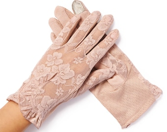 Lacey Vintage Pink Floral Overlay Lace Gloves