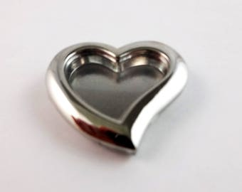 Heart locket jewelry component with hard plastic window for DIY bracelet or necklace projects